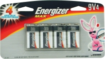 4-Pk. Energizer® Max® 9 Volt Alkaline Batteries Formulated to provide dependable, long-lasting power.(7076474)(522BP4)(000398001206) product image.
